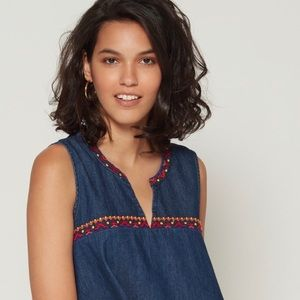 Gap embroidered jeans sleeves denim top NWT